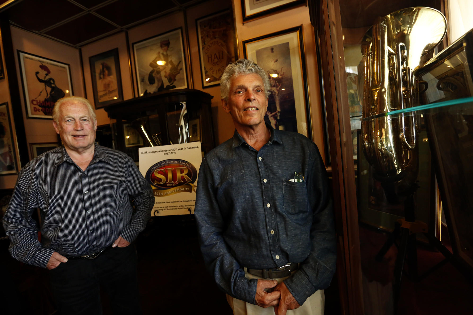 Ken Berry, left, and Dolph Rempp, co-founders of Studio Instrument Rentals. (Genaro Molina / Los Angeles Times)