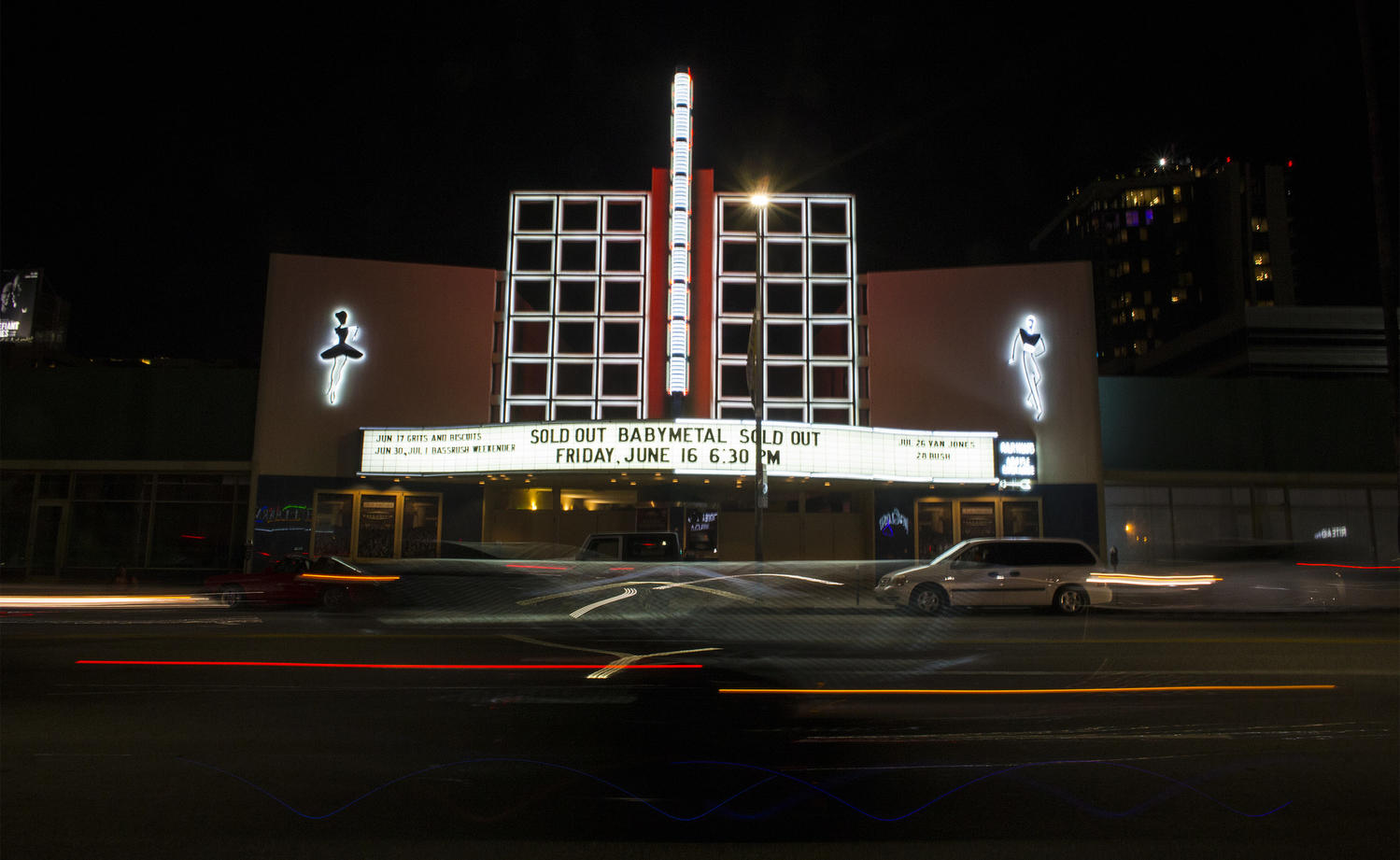 The Palladium on Sunset Boulevard is lit up on June 16, 2017. (Gina Ferazzi / Los Angeles Times)