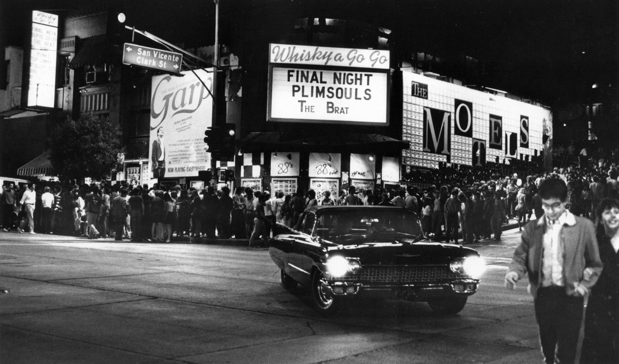 A crowd outside the Whisky a Go Go on the Sunset Strip in 1982. (Marsha Traeger / Los Angeles Times)