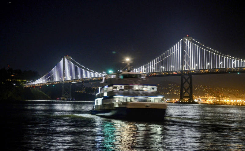San Francisco's Bay Bridge and a ferry (Christopher Reynolds / Los Angeles Times)