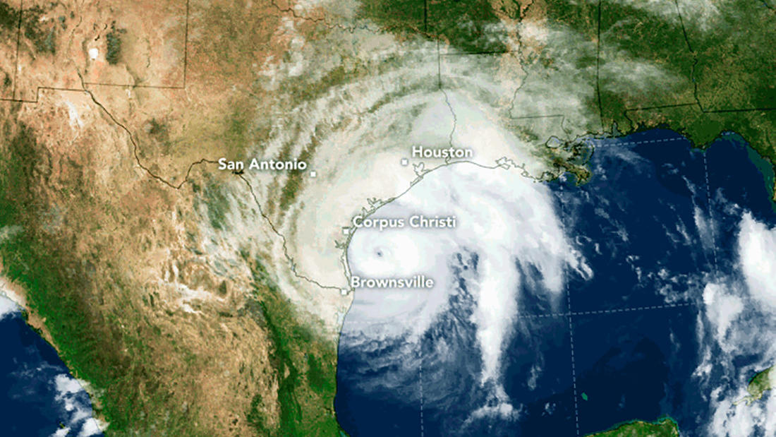 A NASA satellite image shows Hurricane Harvey off the Gulf Coast.