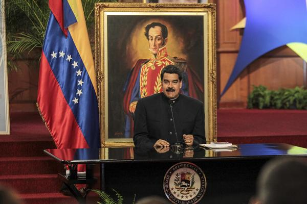 Venezuelan President Nicolas Maduro speaks at a news conference at the Miraflores Palace in Caracas on Aug. 22. (Cristian Hernandez / European Pressphoto Agency)