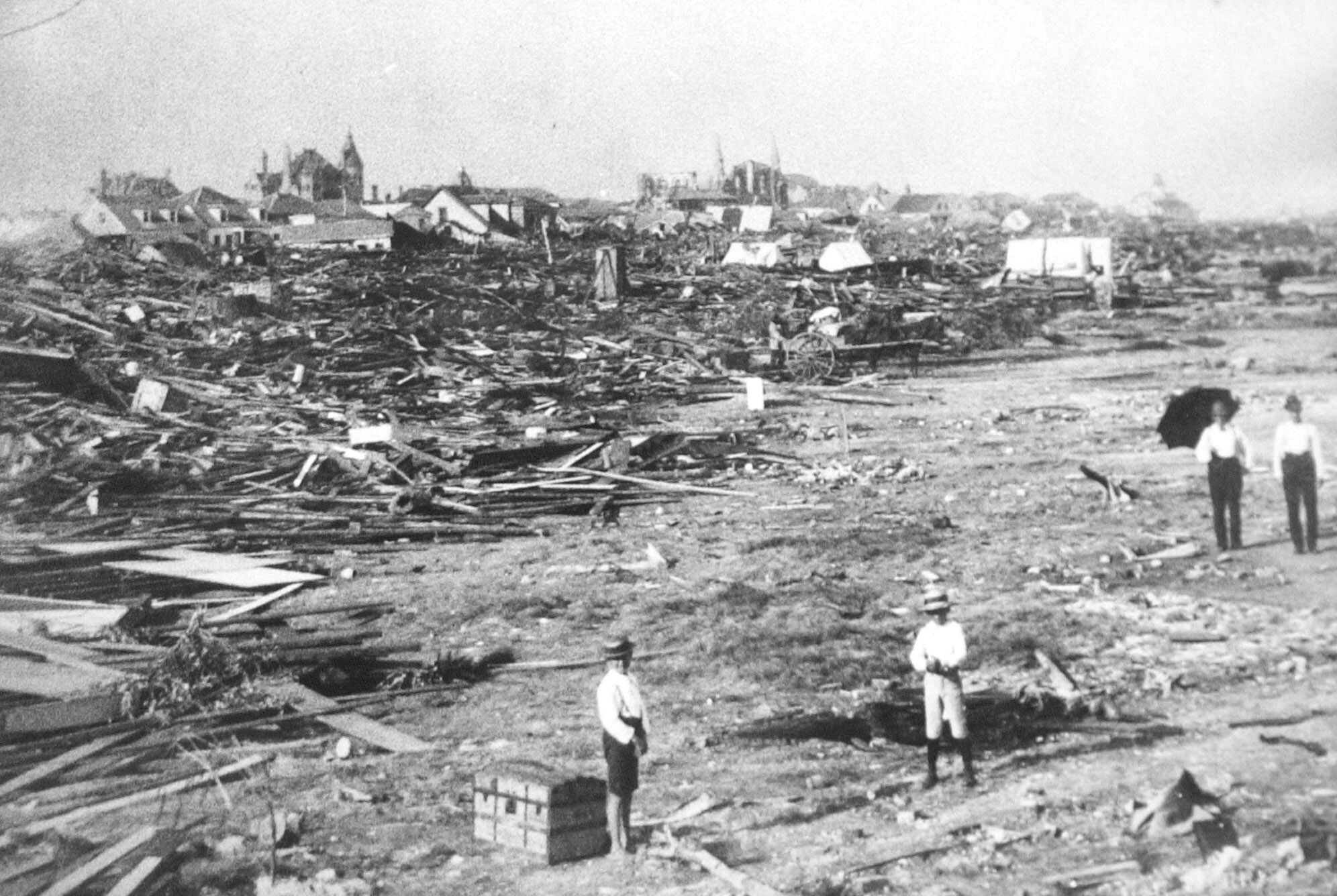 In 1900, a large part of Galveston, Texas, was reduced to rubble and nearly 10,000 people were killed in the deadliest hurricane to ever hit the United States.