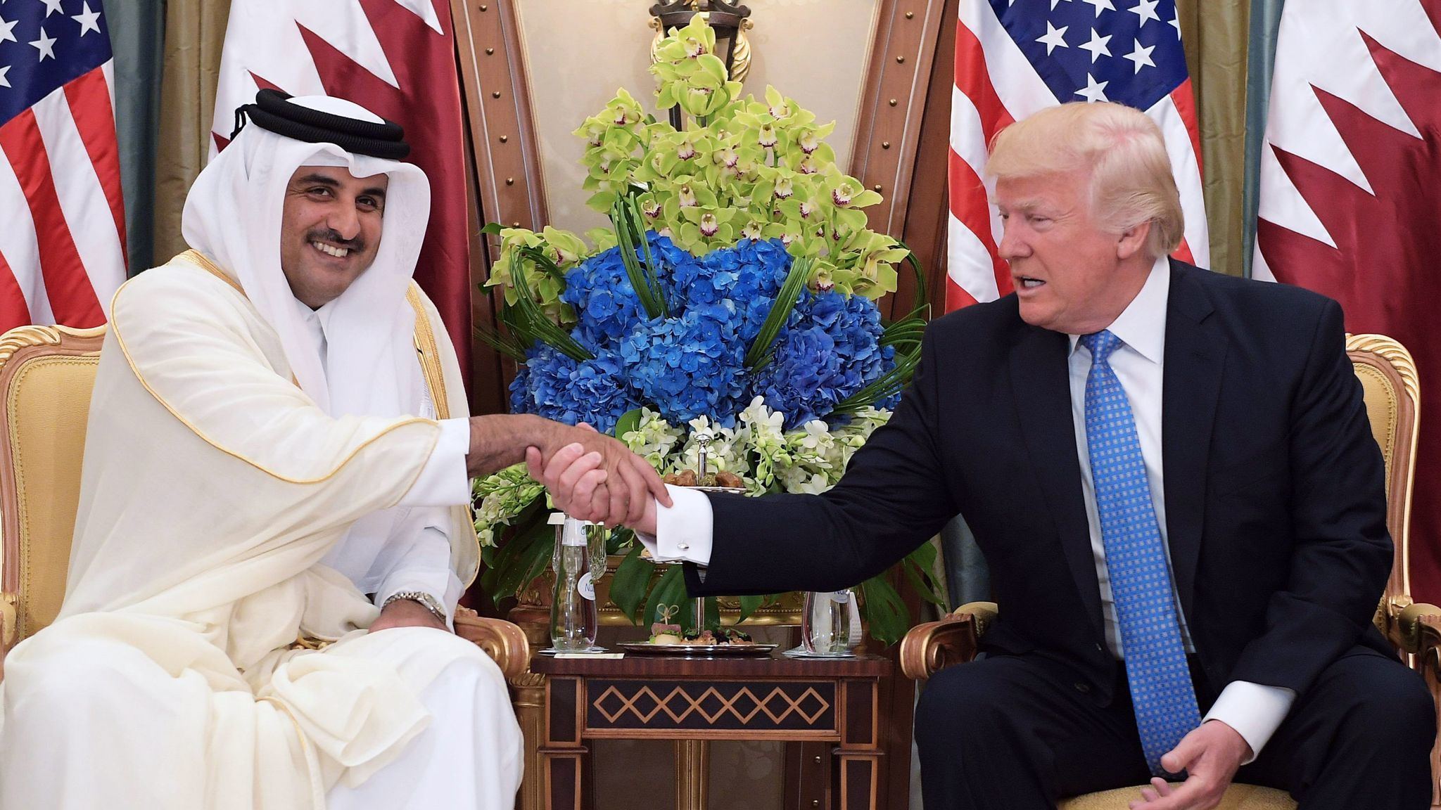 President Trump and Qatar's Emir Sheik Tamim bin Hamad al Thani during a bilateral meeting at a hotel in the Saudi capital, Riyadh, in May 2017.