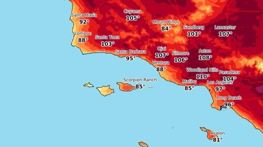 Heat forecast for Monday