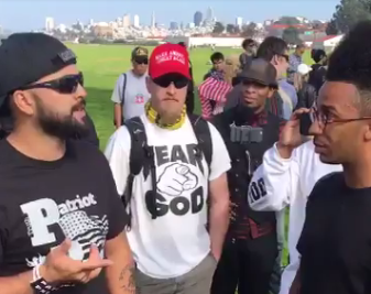Joey Gibson, organizer of the canceled Freedom Rally, talks to a reporter at Crissy Field. None