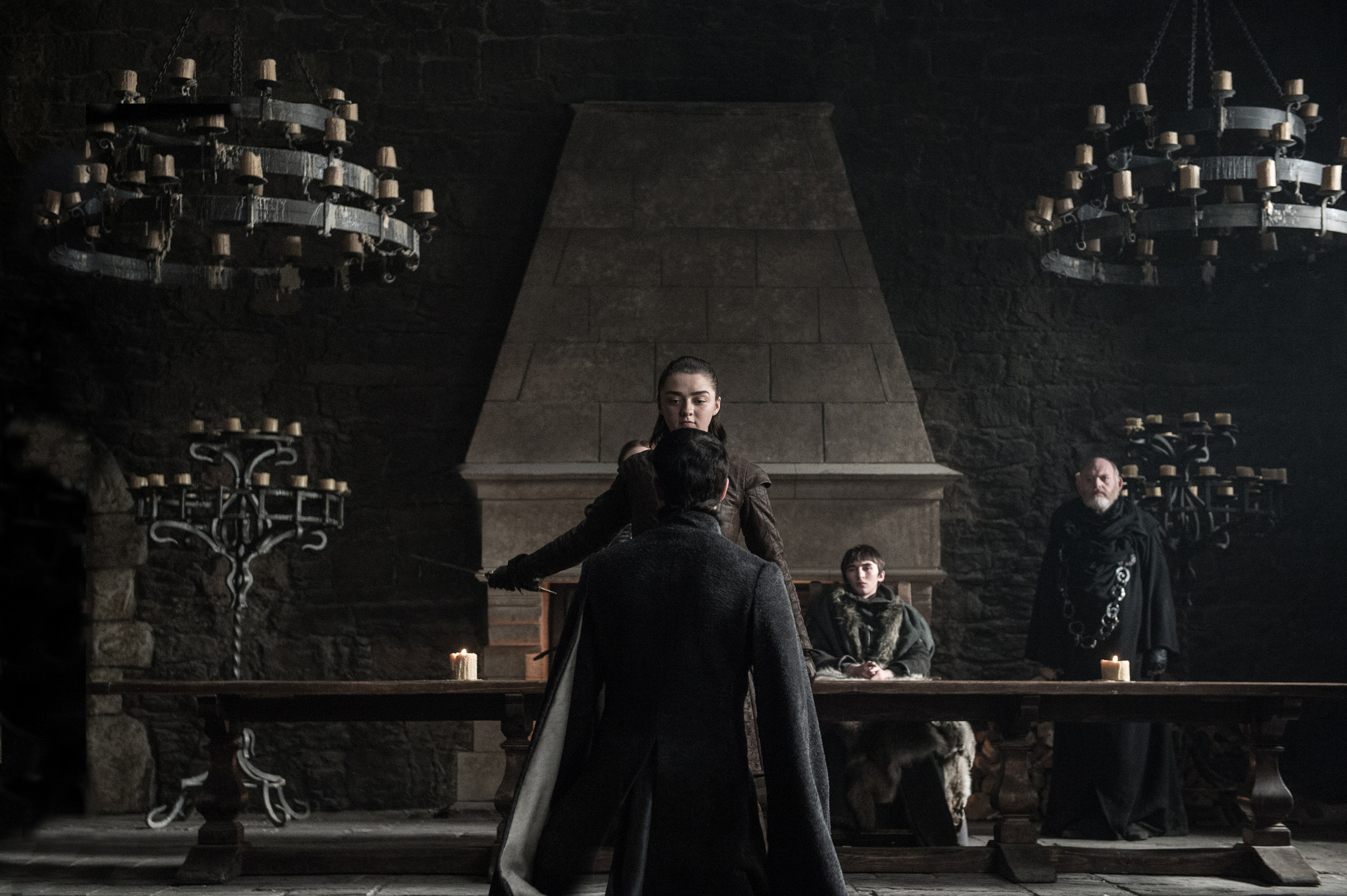 "Maisie Williams as Arya Stark, Aidan Gillen as Petyr ""Littlefinger"" Baelish and Isaac Hempstead Wright as Bran Stark in the ""Game of Thrones"" episode ""The Dragon and the Wolf."""
