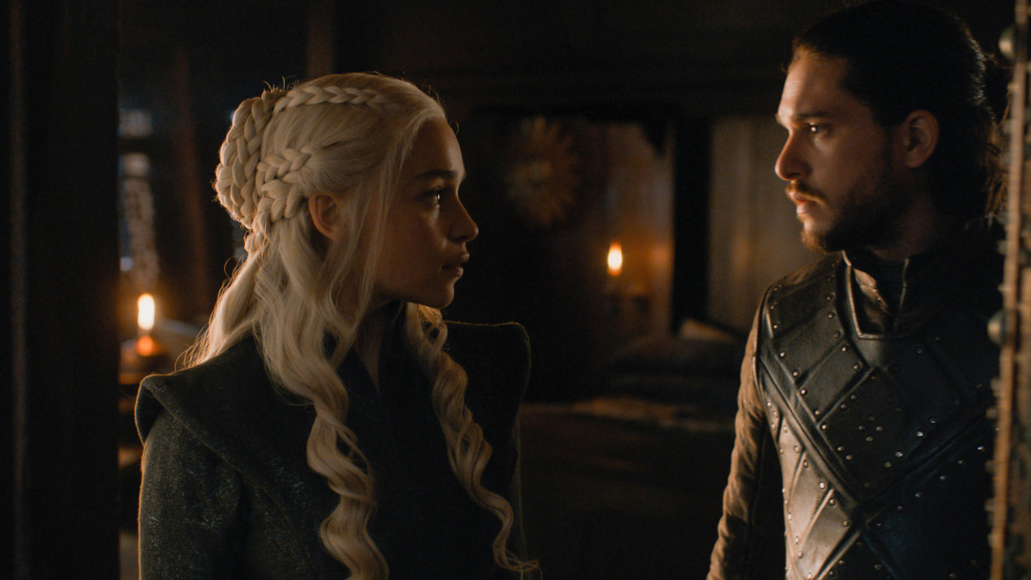 "Emilia Clarke as Daenerys Targaryen and Kit Harington as Jon Snow in ""Game of Thrones."" (HBO)"