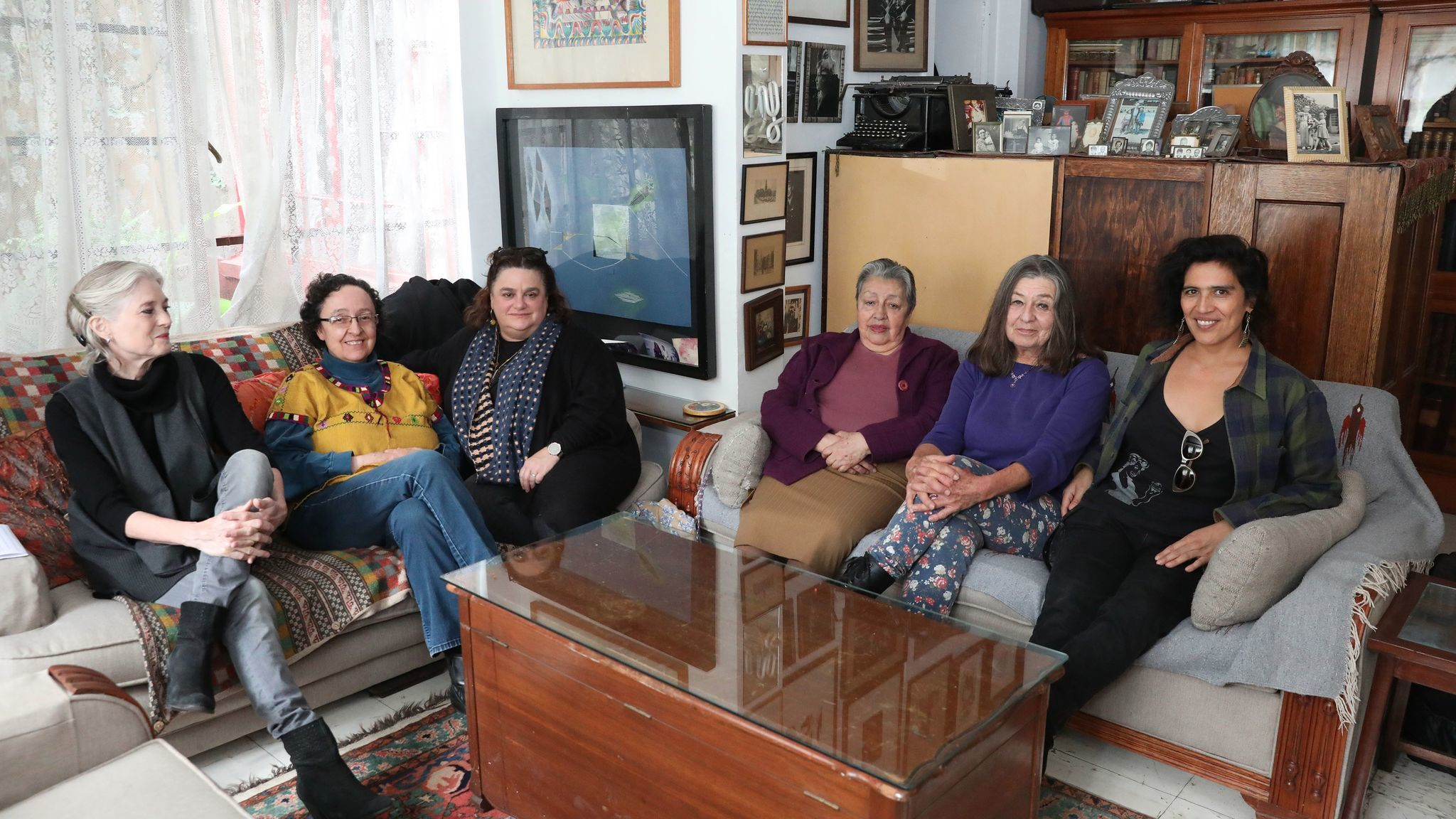"The women behind ""Radical Women"" gather for a roundtable discussion in Mexico City at the home and studio of Mónica Mayer."