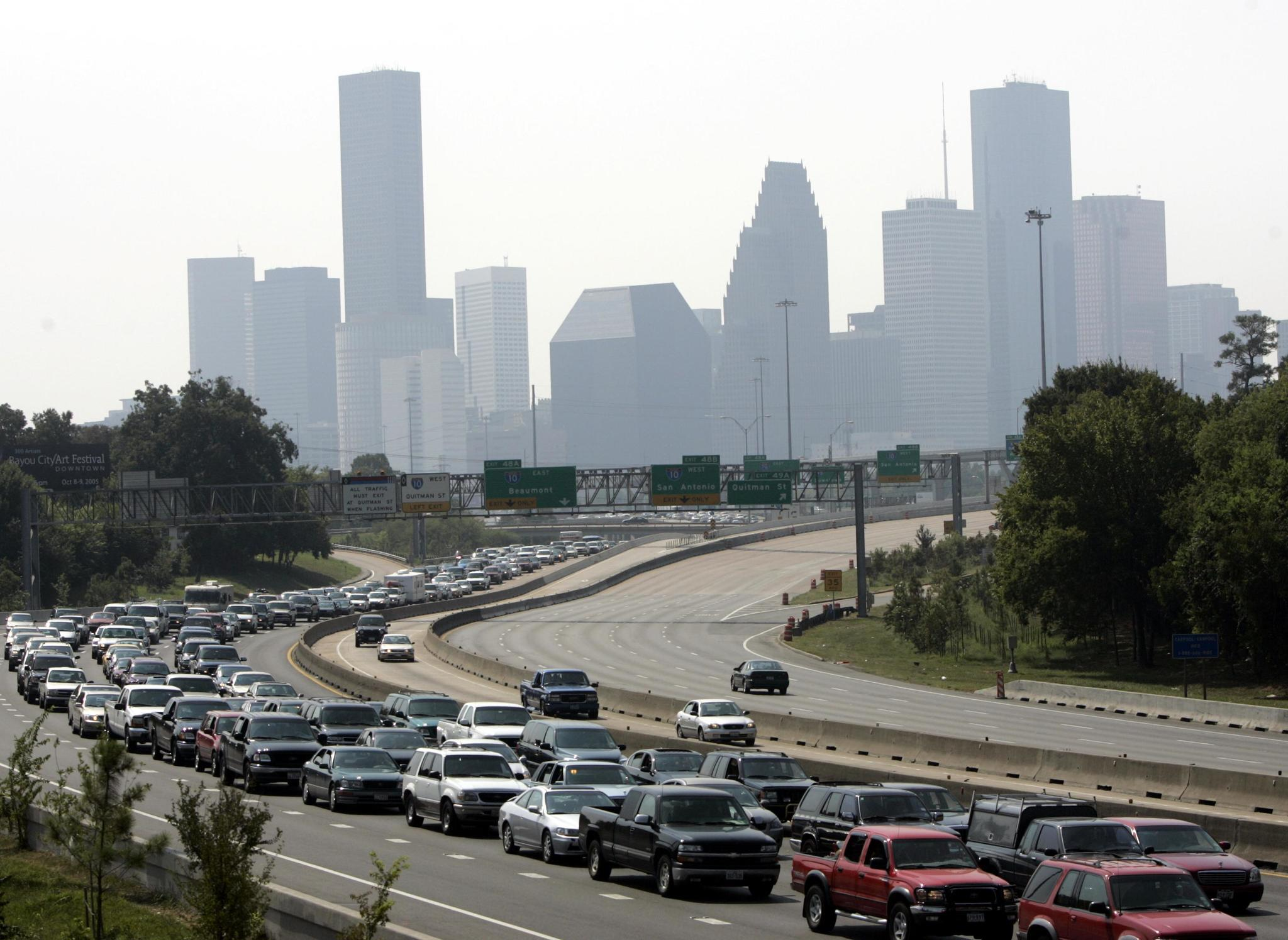 Gulf Coast residents face heavy traffic as they evacuate Houston before Hurricane Rita in 2005.