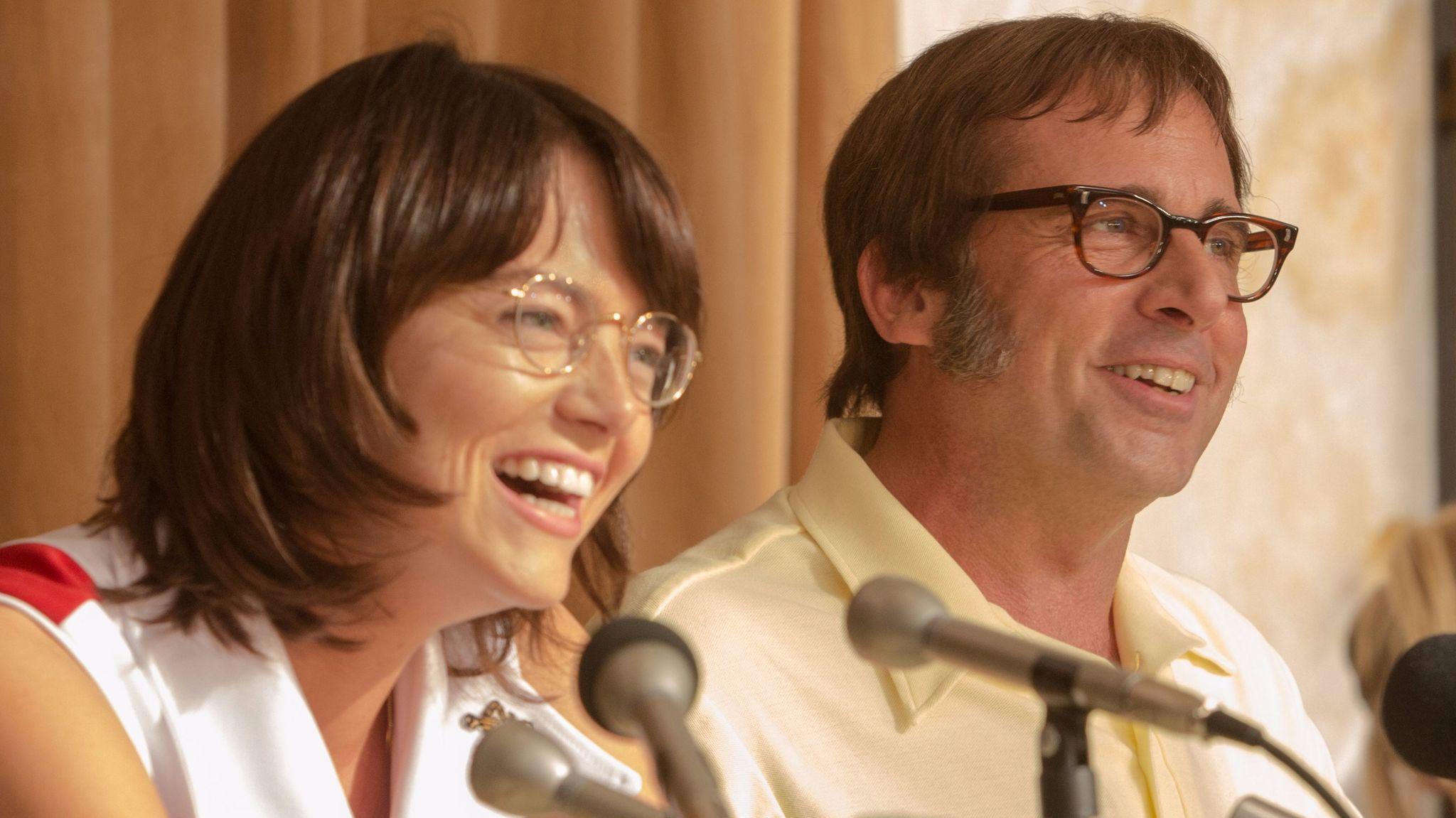 "Emma Stone as Billie Jean King and Steve Carell as Bobby Riggs in ""Battle of the Sexes."" (Melinda Sue Gordon / Twentieth Century Fox)"