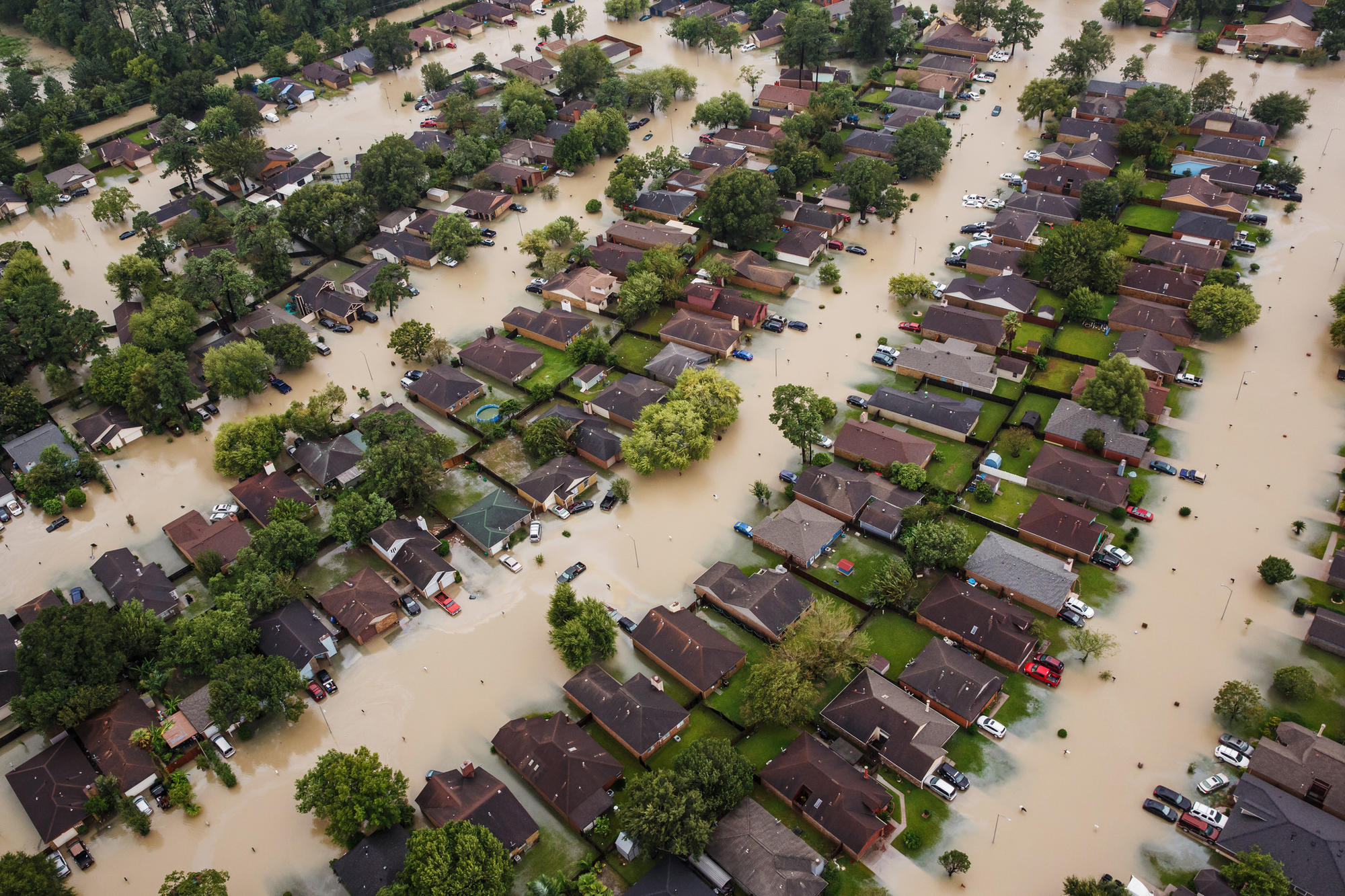 A flooded residential neighborhood near Interstate 10 in Houston, Texas.
