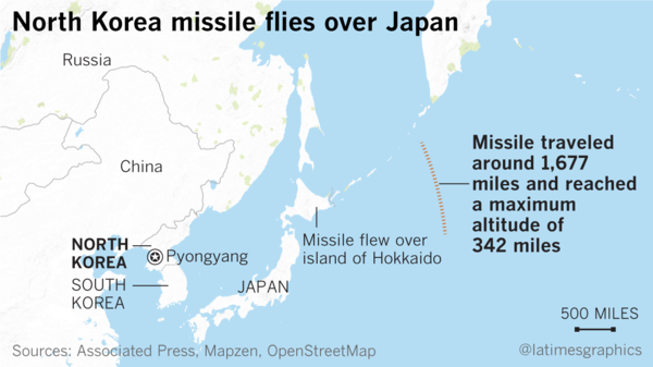 US Officials Condemn North Koreas Missile Launch Over Japan - Japan map missile