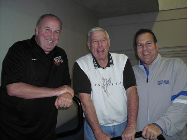 Former Palisades coach Jerry Marvin (center) with Westchester coach Ed Azzam (left) and Palisades golf coach James Paleno. (Sean Cassidy)