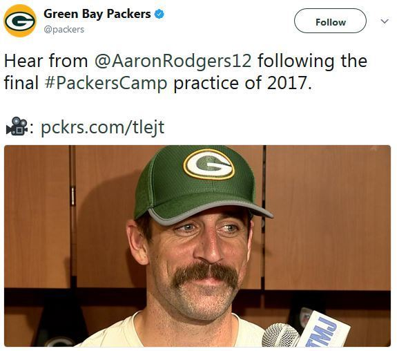 Aaron Rodgers Mustache Makes Some Fans Bristle
