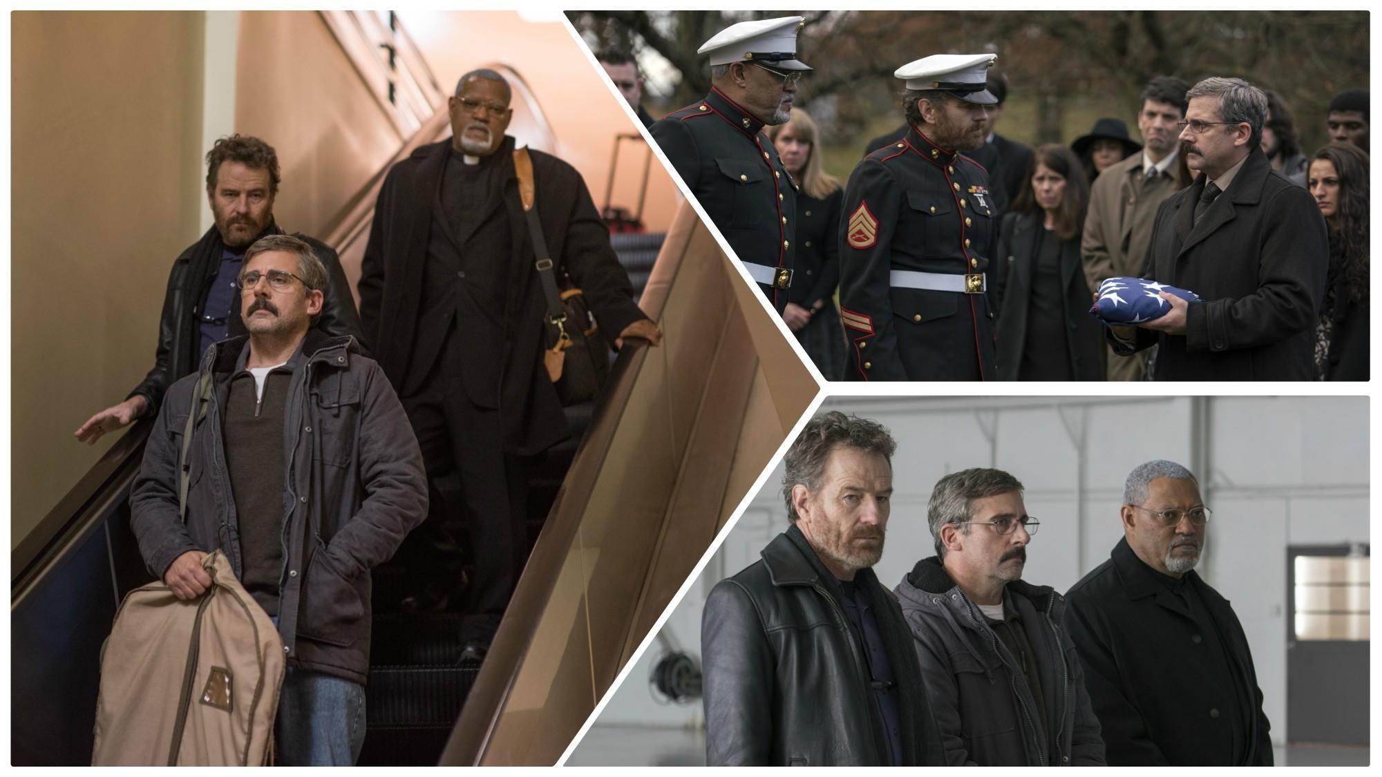 "Stills from Richard Linklater's film the ""Last Flag Flying."" (Amazon Studios / Lionsgate / AP)"