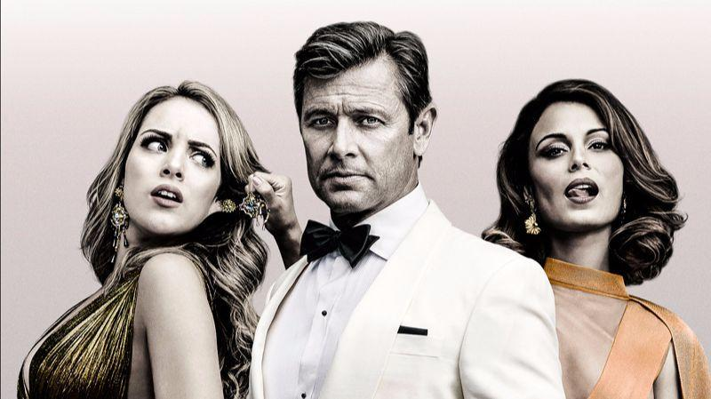 "Elizabeth Gillies as Fallon Carrington, Grant Show as Blake Carrington and Nathalie Kelley as Cristal Flores in a gallery shot for the CW's reboot of ""Dynasty."" (Marc Hom /The CW)"