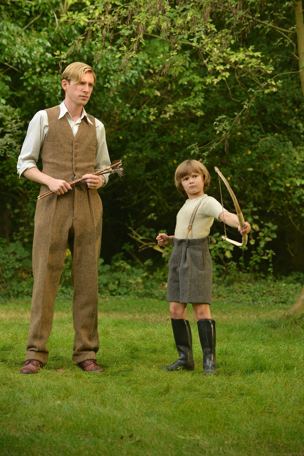 "Domhnall Gleeson, left,  and Will Tilston in ""Goodbye Christopher Robin."""