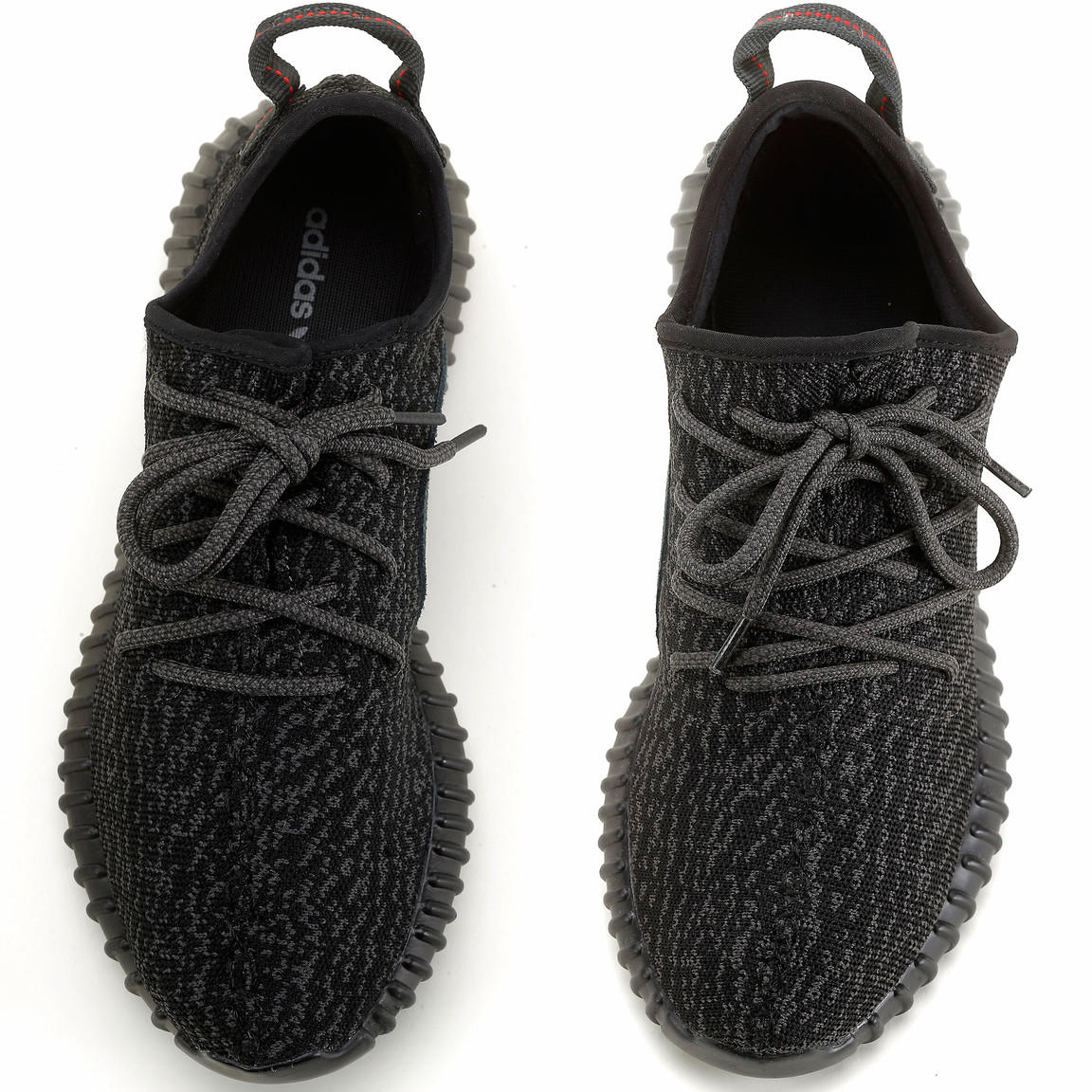 This composite image shows an authentic Yeezy, left, beside a replica.