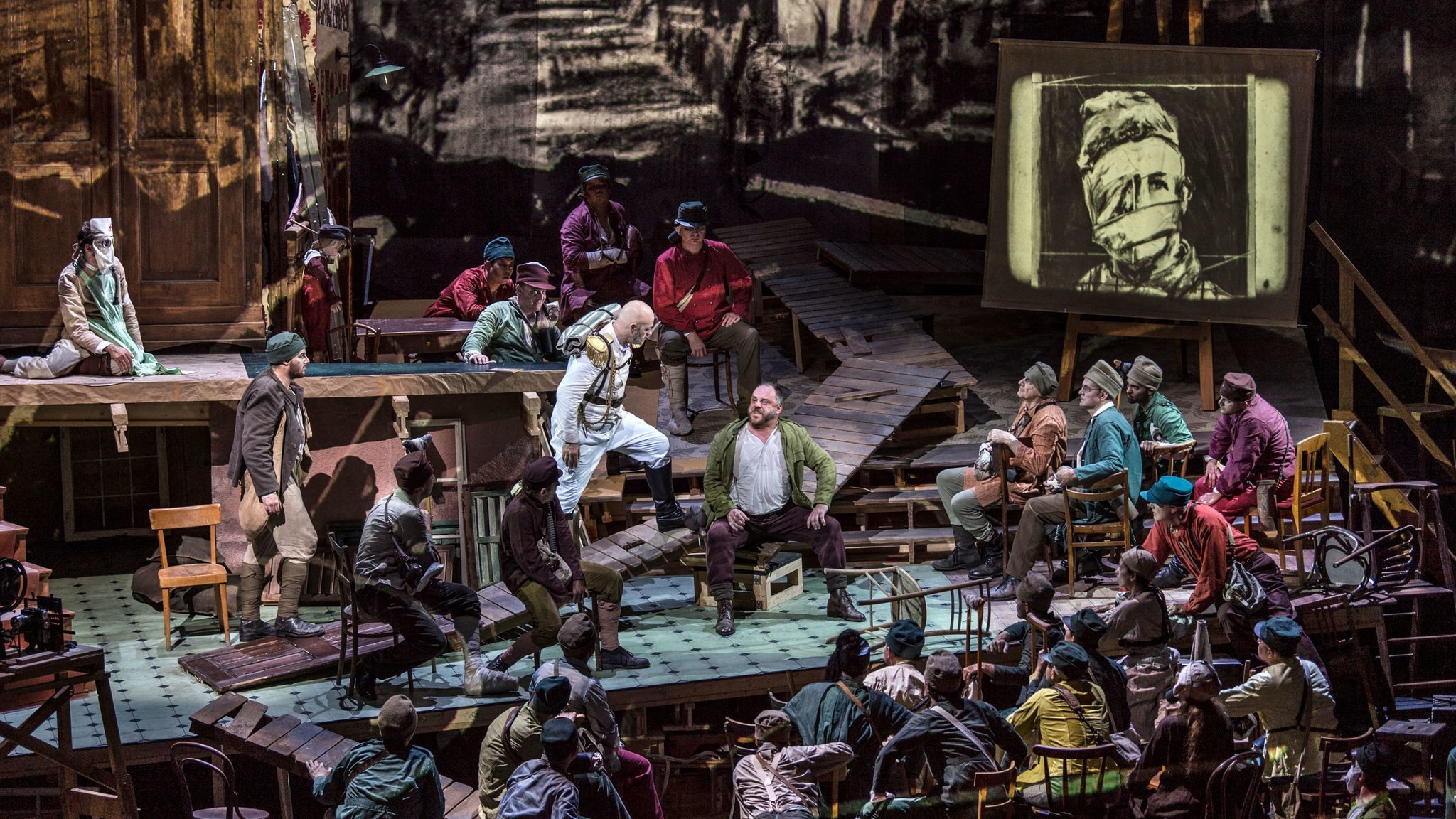 William Kentridge's Salzburg Festival production of Berg's 'Wozzeck' with Matthias Goerne (seated in the center) in the title role
