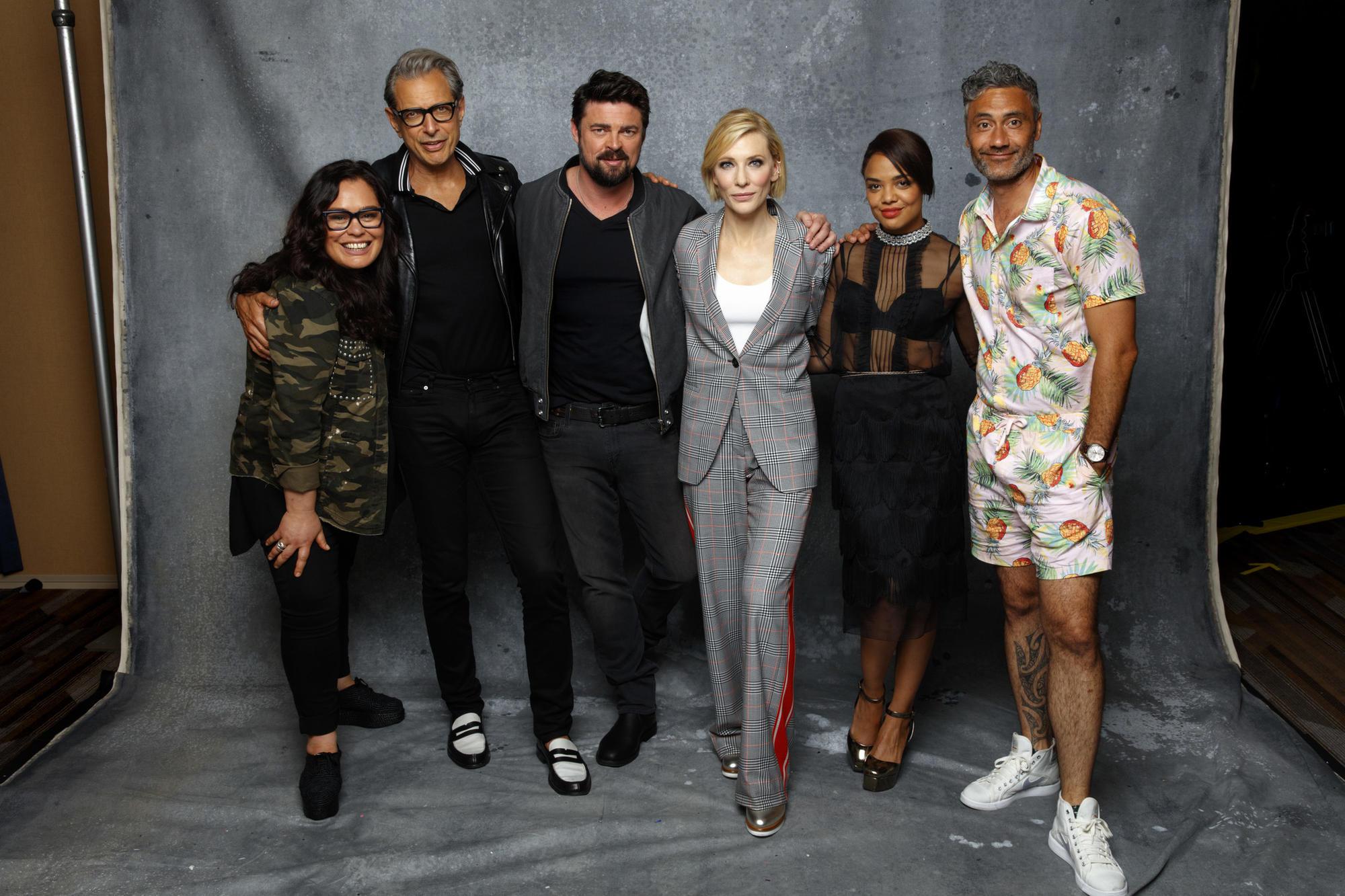 """Thor: Ragnarok's"" Rachel House, left, Jeff Goldblum, Karl Urban, Cate Blanchett, Tessa Thompson and director Taika Waititi. (Jay L. Clendenin / Los Angeles Times)"