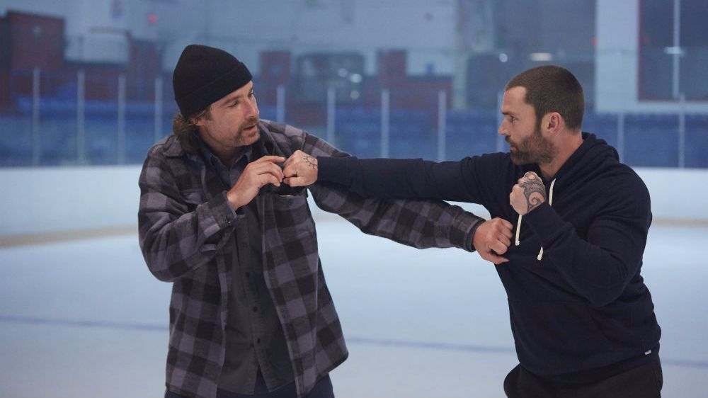 """Former ice enemies Ross (Liev Schreiber) and Doug (Seann William Scott) share a tender moment in """"Goon: Last of the Enforcers."""""""