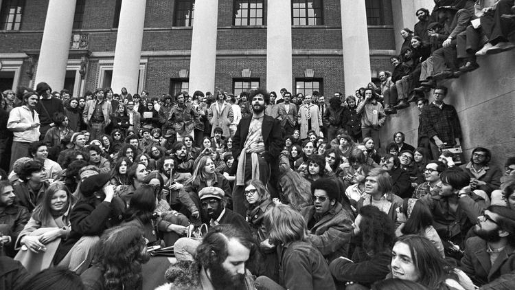 Jerry Rubin speaking at Harvard in 1969. (Spencer Grant / Getty Images)