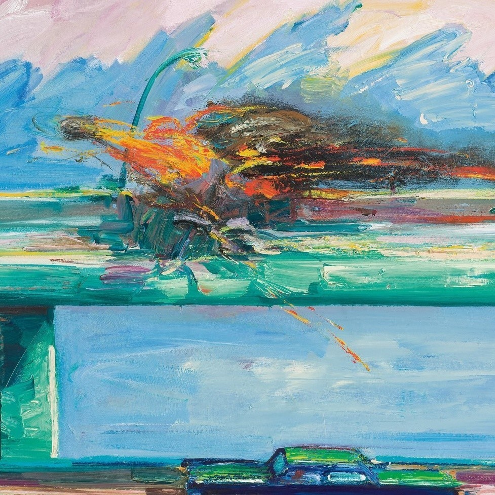 "Carlos Almaraz, ""Crash in Phthalo Green (detail),"" 1984, oil on canvas."