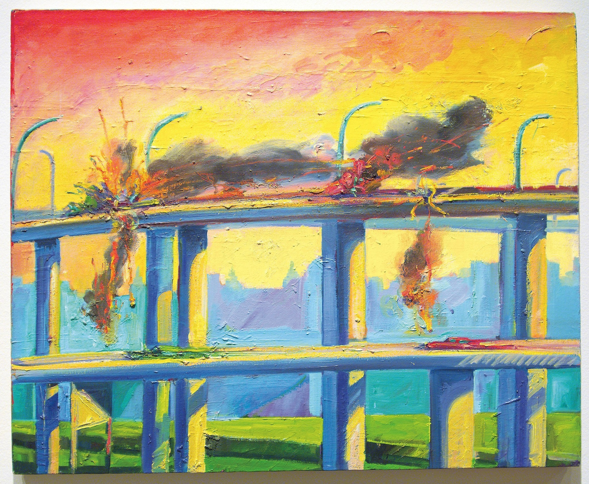 "Carlos Almaraz, ""Sunset Crash,"" 1982, oil on canvas."