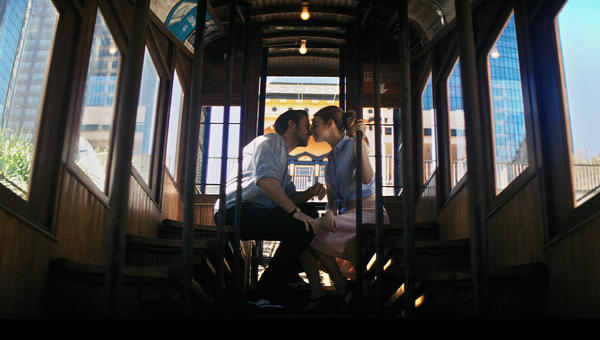 "Ryan Gosling and Emma Stone aboard Angels Flight in ""La La Land."" (Lionsgate)"