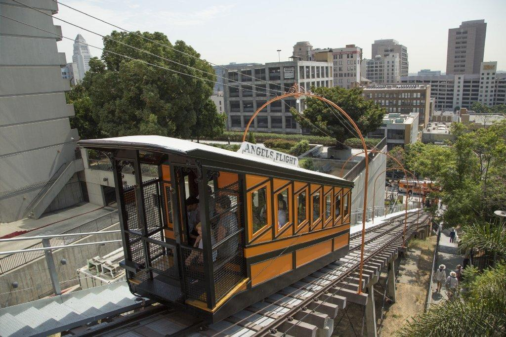 Angels Flight reopened on Thursday. (Myung J. Chun / Los Angeles Times)
