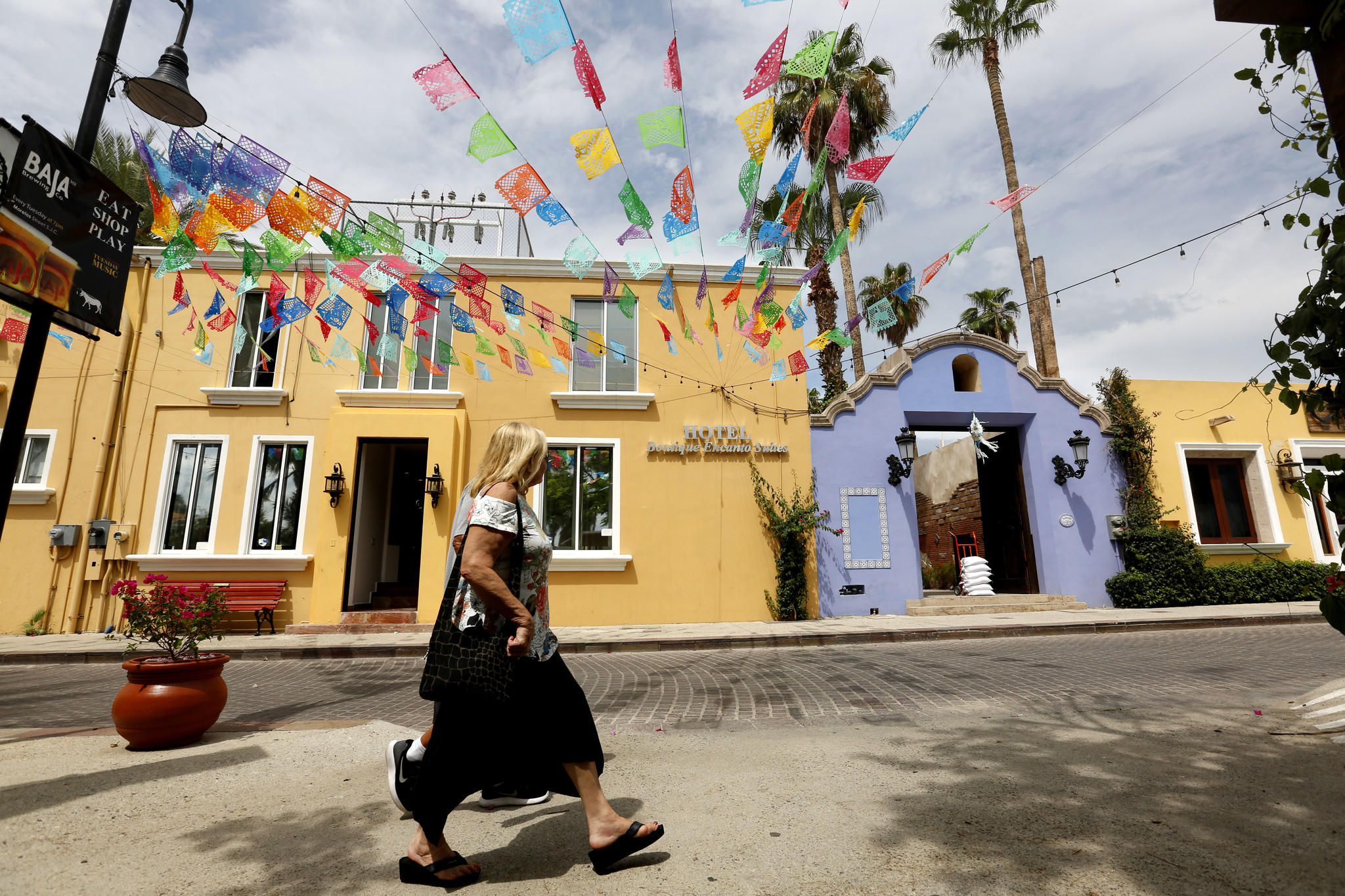 Colonial buildings line the streets of the historic central district in San Jose del Cabo. The U.S. Department of State issued a warning to U.S. citizens about the risk of traveling the Los Cabos area due to the activities of criminal organizations in those areas.
