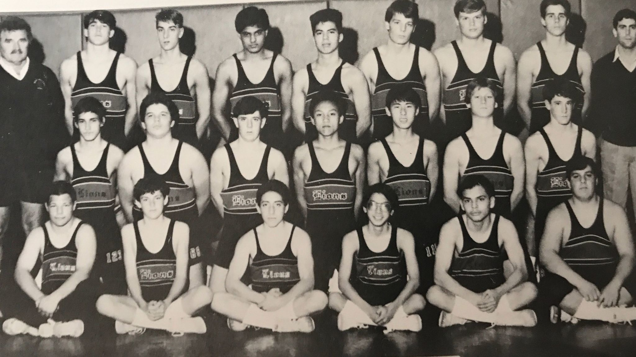A team photo in the 1987 Westminster High School yearbook with Timothy Vu, center.