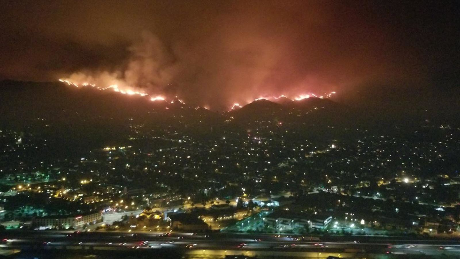 Evacuations Ordered As Brush Fire Sweeps Across Verdugo Mountains Near Sun Valley 210 Freeway Closed