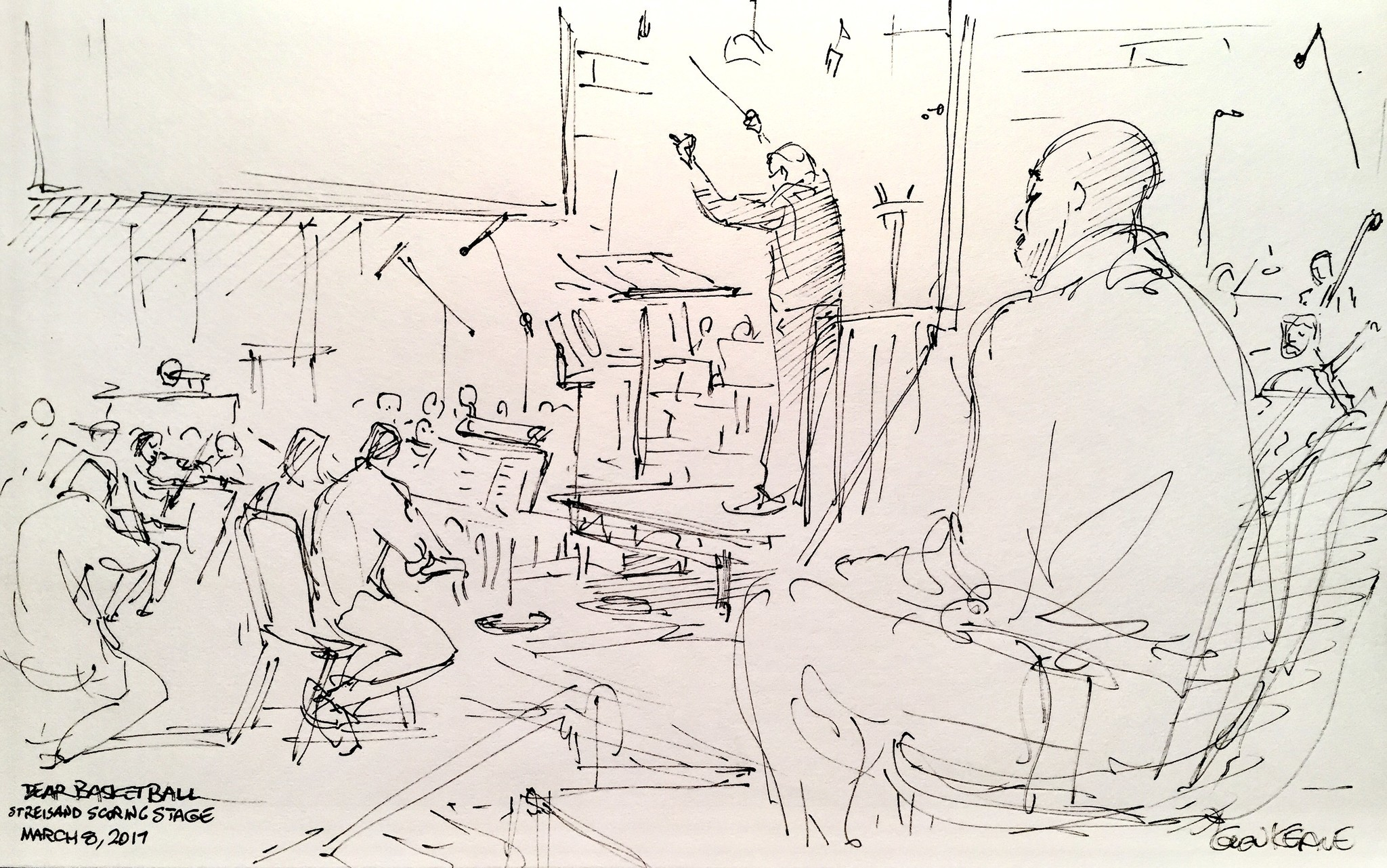Glen Keane's sketch of John Williams conducting the orchestral score for Kobe Bryant's short film, with Bryant pictured listening in the foreground.