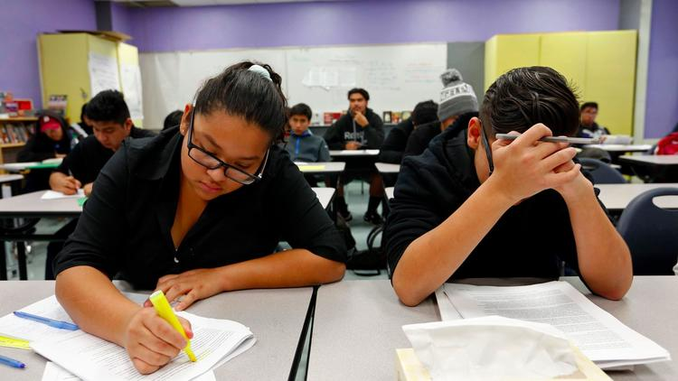 Los Angeles Unified School District students at Harris Newmark High School (Genaro Molina / Los Angeles Times)