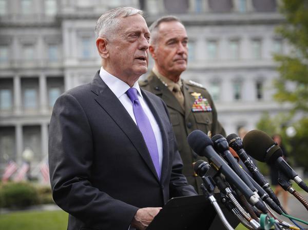 Defense Secretary James N. Mattis, left, accompanied by Joint Chiefs Chairman Gen. Joseph Dunford. (Pablo Martinez Monsivais / Associated Press)