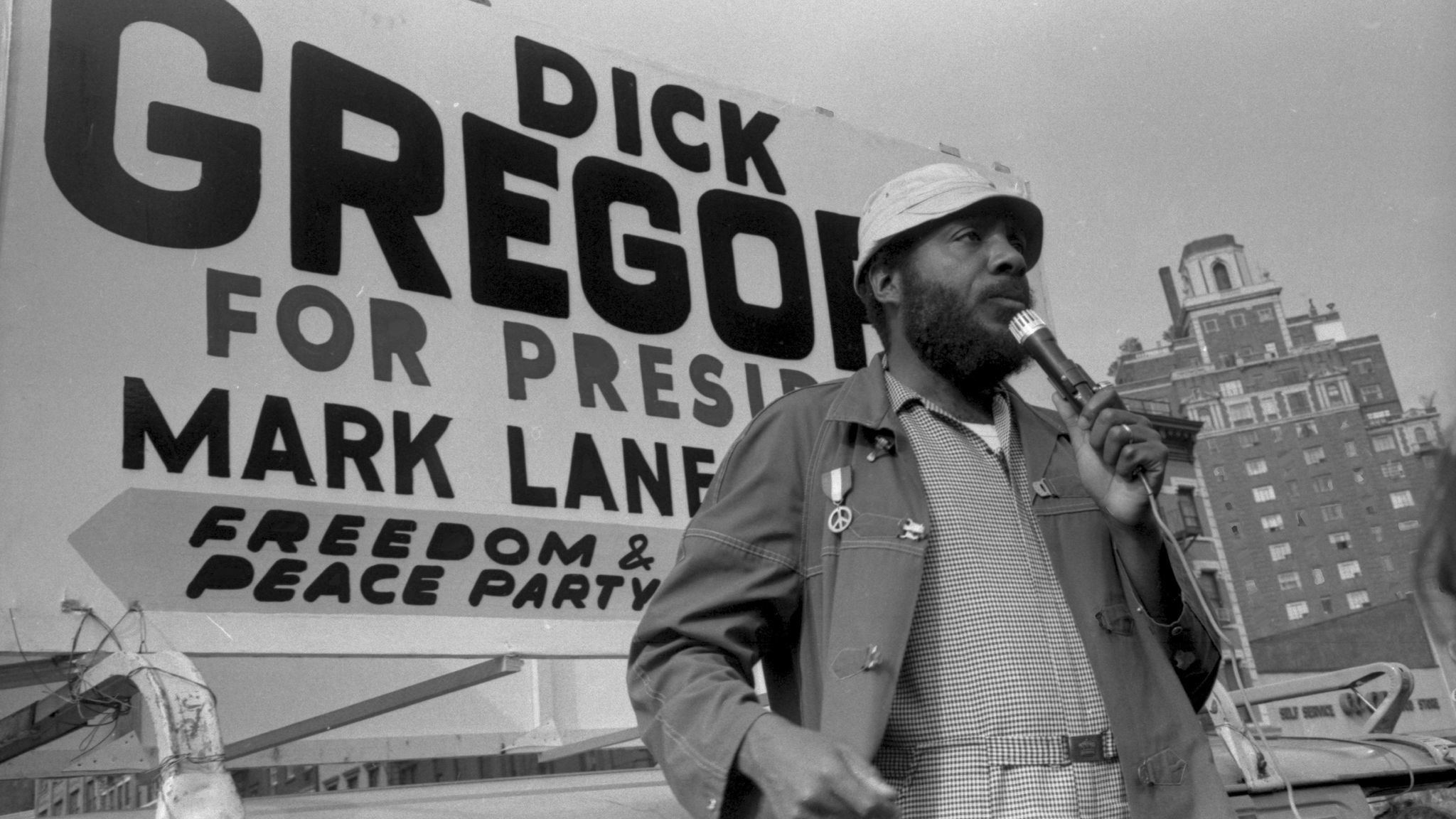 Dick Gregory campaigning for president with the Freedom & Peace Party in New York in 1969.