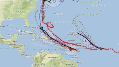 Latest hurricane forecast tracking map