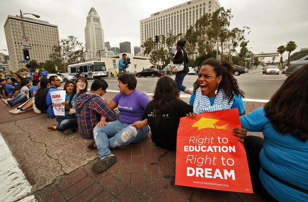 Demonstrators rallying in support of DACA in 2012. (Al Seib / Los Angeles Times)