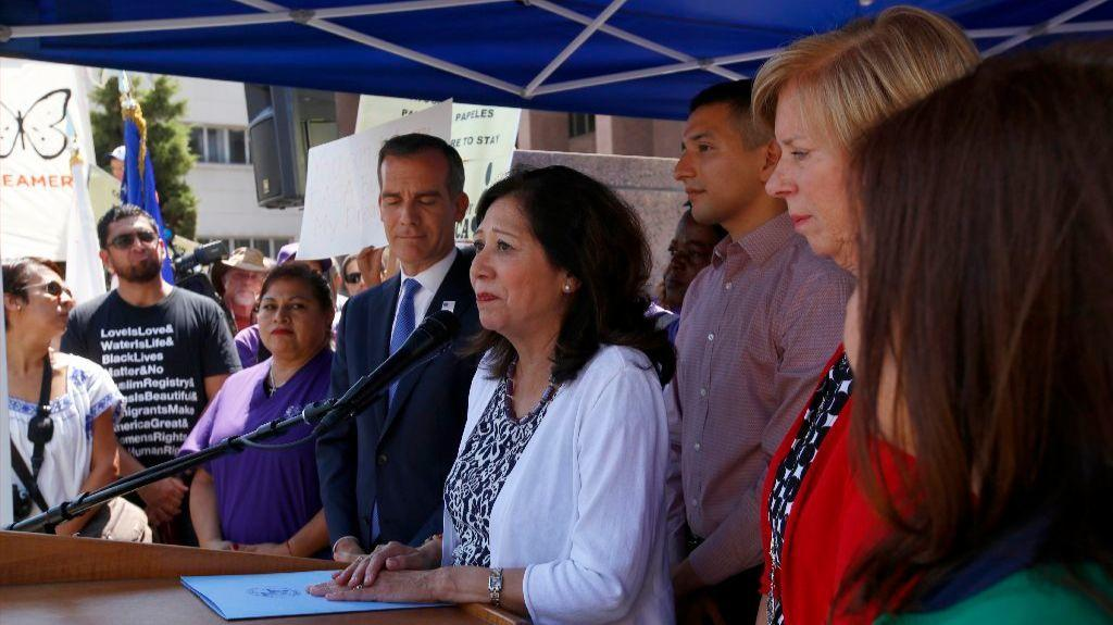 Los Angeles County Supervisor Hilda Solis speaks about DACA outside the Hall of Administration. (Francine Orr / Los Angeles Times)