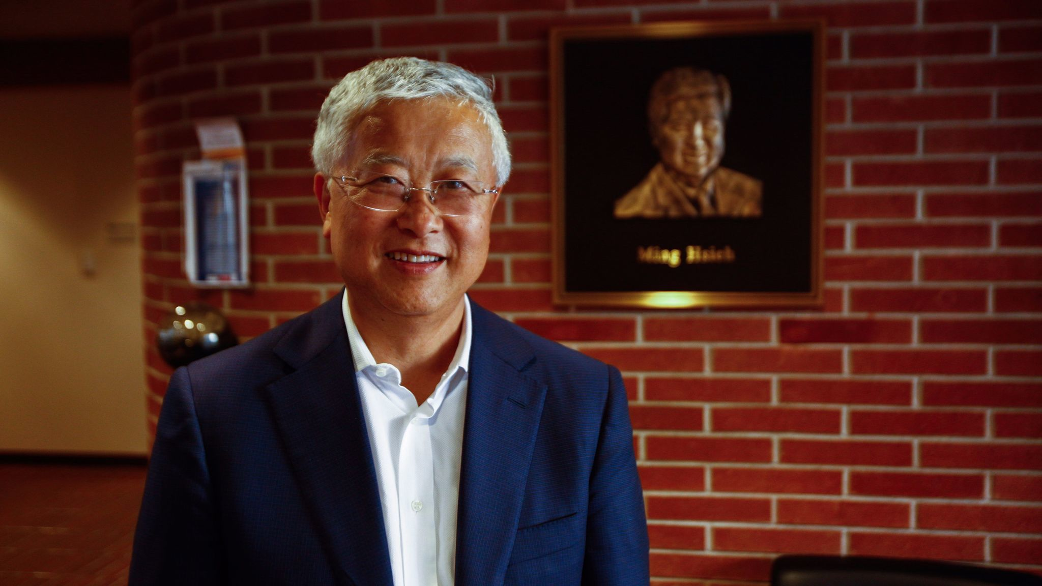Ming Hsieh, who donated $35 million to his alma mater, USC, for its electrical engineering program and $50 million to fund research in nanomedicine for cancer treatments, stands in the university's Ming Hsieh Department of Electrical Engineering.