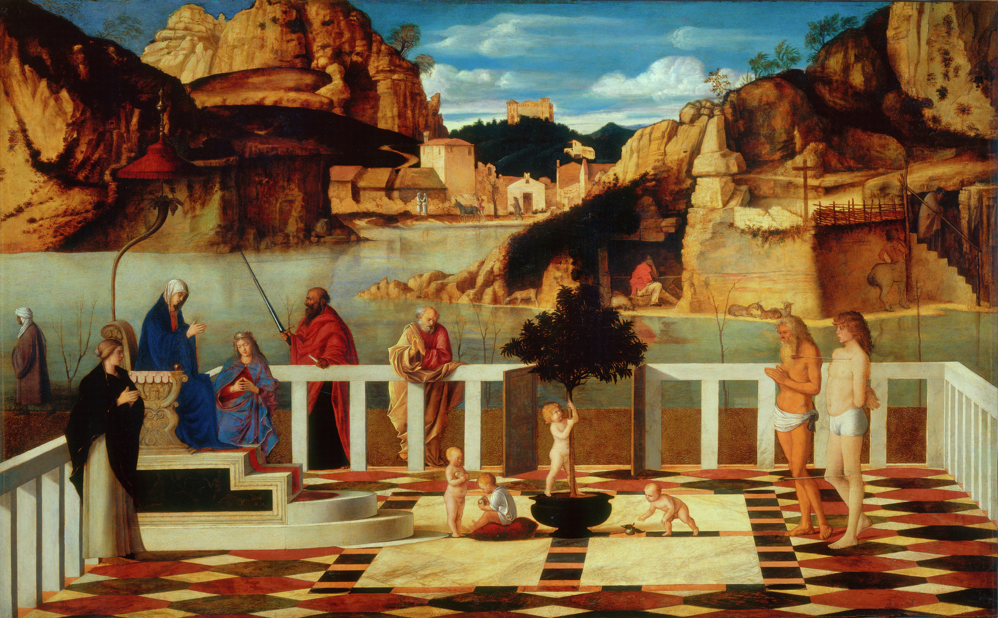 "Giovanni Bellini, ""Sacred Allegory,"" about 1500-1504, from ""Giovanni Bellini: Landscapes of Faith in Renaissance Venice."""