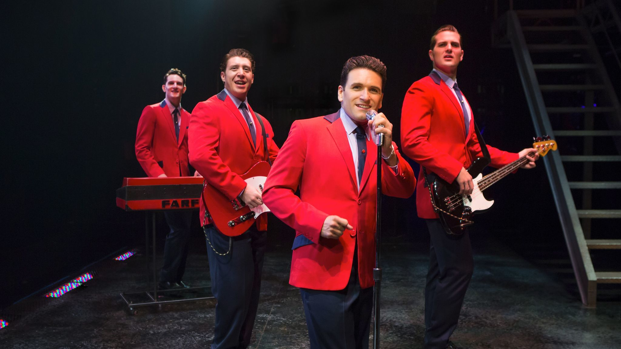"From left: Cory Jeacoma, Matthew Dailey, Aaron De Jesus and Keith Hines in ""Jersey Boys."""