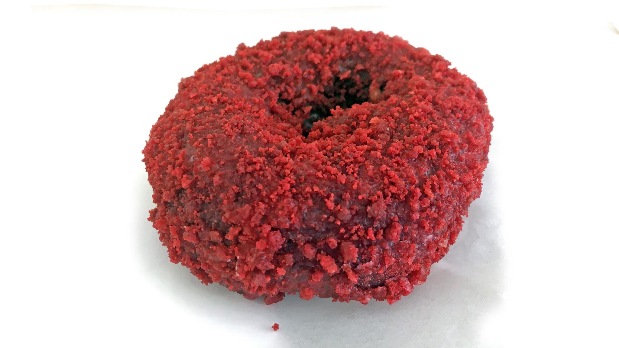 Red velvet doughnut from Michelle's Donut House.