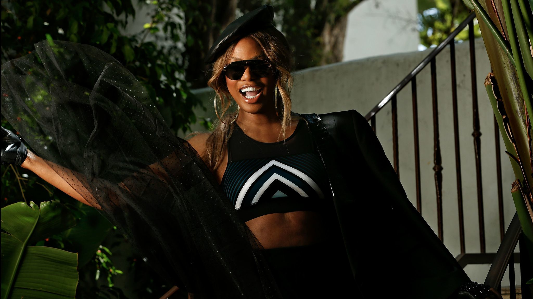 Laverne Cox wears selections from Ivy Park's fall collection, which is available at Nordstrom, Topshop and other retailers.