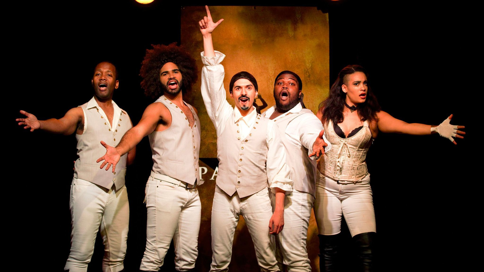 "From left: Chris Anthony Giles, Nicholas Edwards, Dan Rosales, Juwan Crawley and Nora Schell in the Off-Broadway production of ""Spamilton""€ at the Triad."