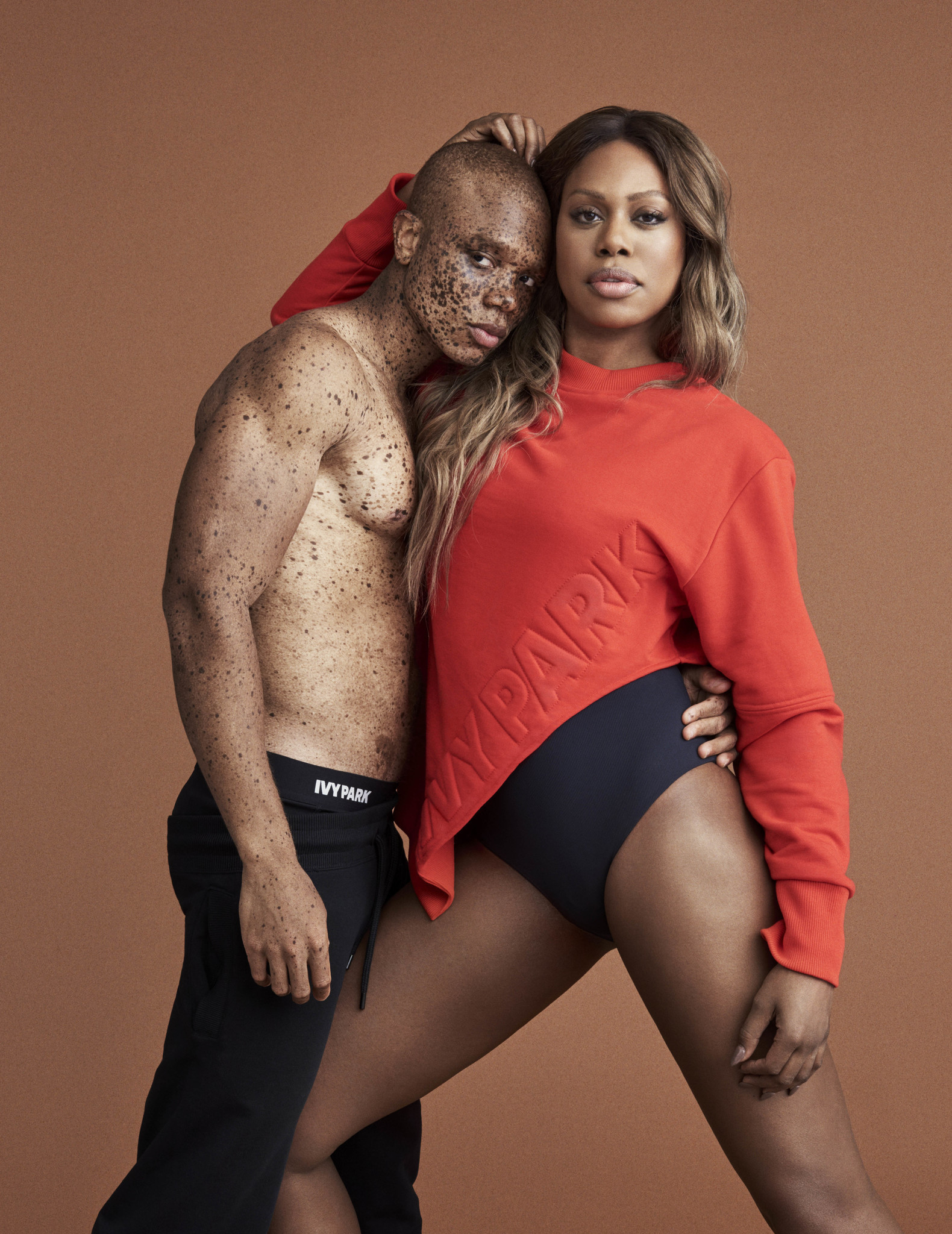 Model Ralph Souffrant and Laverne Cox in an Ivy Park campaign photograph.