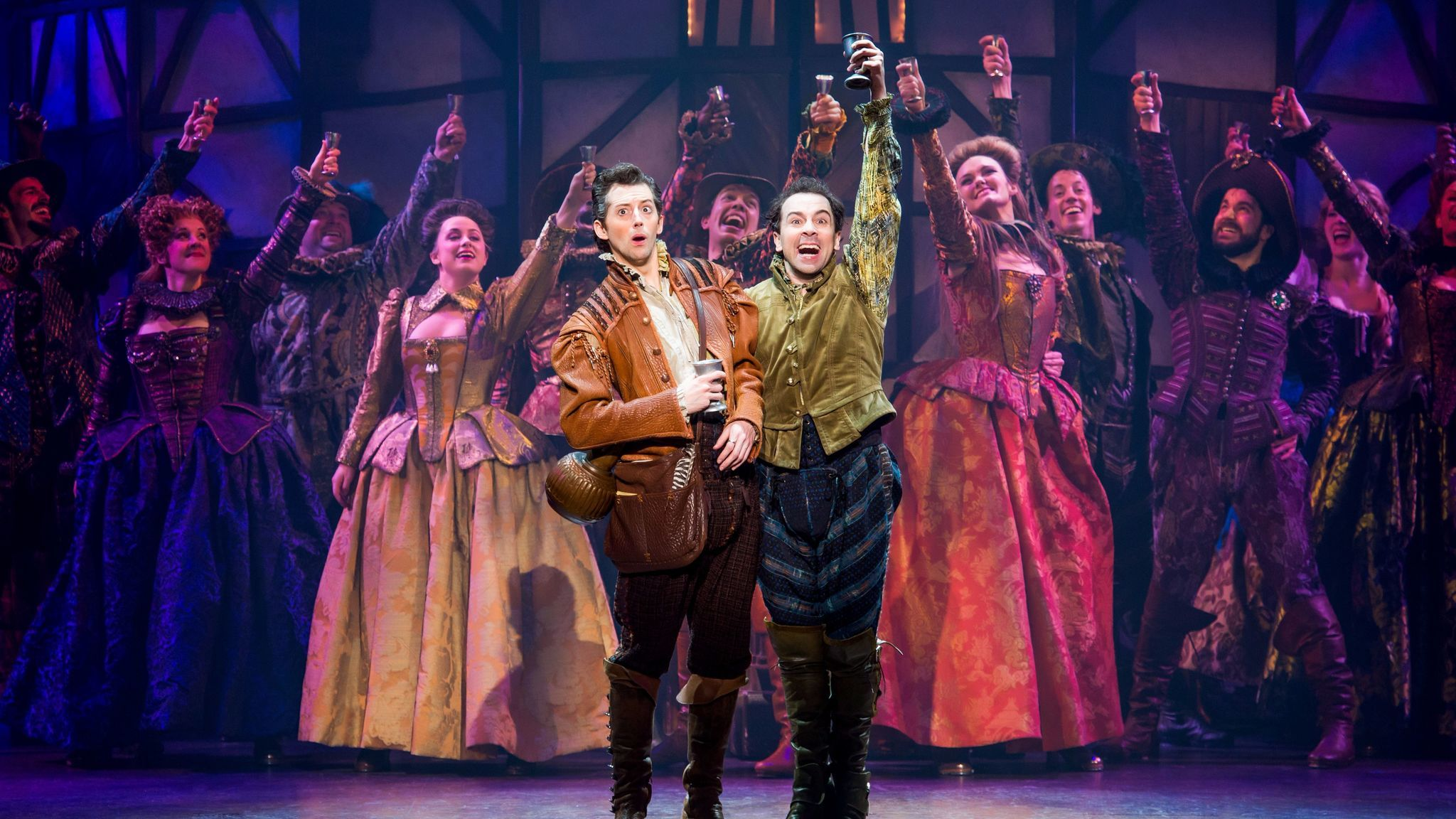 "Brothers Nigel and Nick Bottom (Josh Grisetti, Rob McClure) in the National Tour of ""Something Rotten!"""