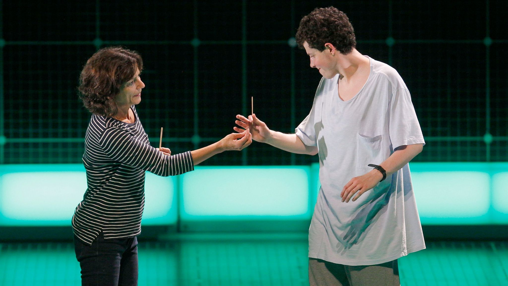 "Adam Langdon and Felicity Jones Latta in ""The Curious Incident of the Dog in the Night-Time."""